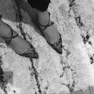 ASOS Shoes - ASOS Jacquard Floral Ankle Strap Heels